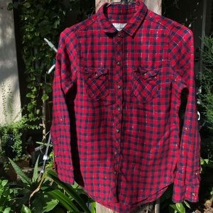 Red and blue checkered plaid Abercrombie and Fitch